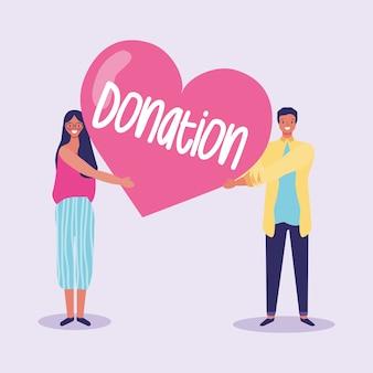 Coppie che invitano a donare all'illustrazione del fumetto di carità