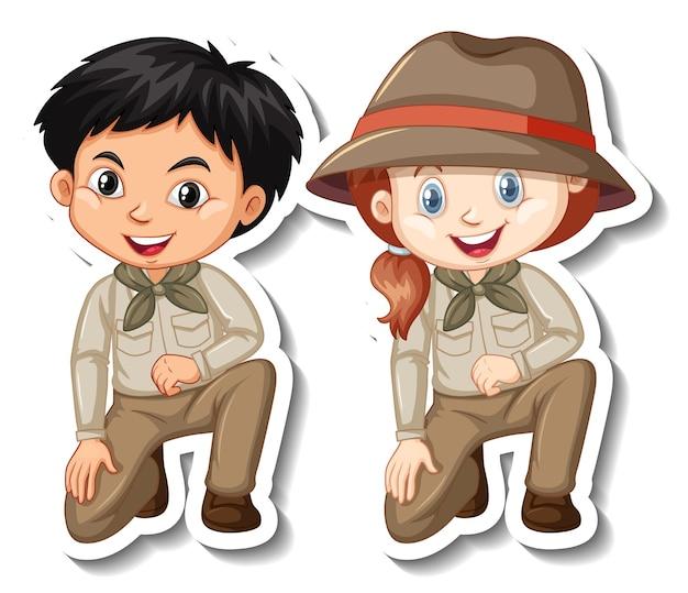 Coppia di bambini in costume da safari adesivo personaggio dei cartoni animati