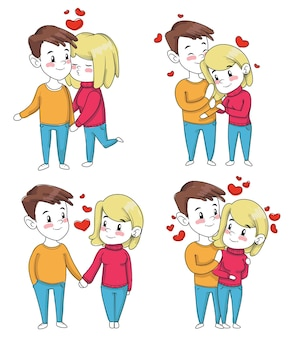 Coppia in amore in stile cartone animato in un abbraccio e mano nella mano