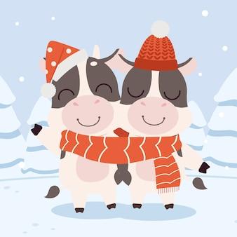 La coppia ama la mucca carina indossa una grande sciarpa