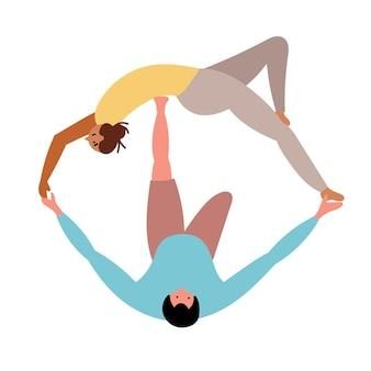 La coppia ama le ragazze gli uomini fanno yoga