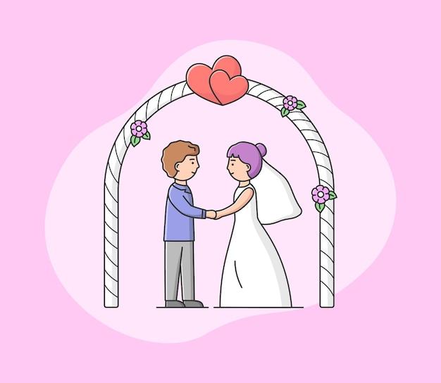 Coppia in amore sposo e sposa sulla cerimonia di matrimonio.
