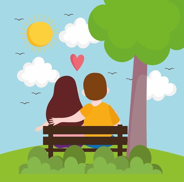 Amore di coppia nel parco