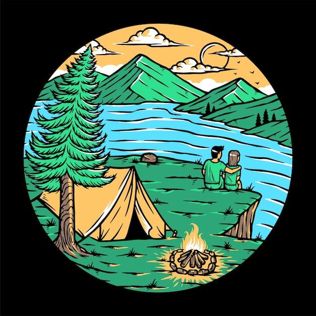 Coppia innamorata che si rilassa in montagna