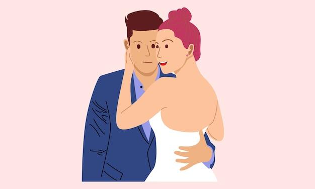 Coppia in amore. due amanti che si abbracciano Vettore Premium