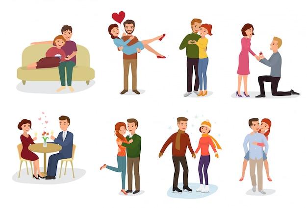 Coppia in amore vector gli amanti dei personaggi in belle relazioni insieme alla data d'amore
