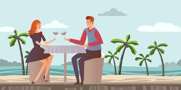 Coppia innamorata giovane e donna ad un appuntamento romantico su una spiaggia tropicale con palme