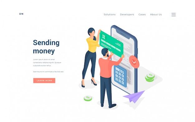 Coppia fare transazione di denaro su smartphone illustrazione.