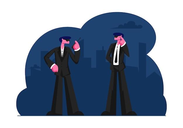 Coppia di personaggi di guardie del corpo maschili che indossano abito nero in attesa di celebrità o personaggi famosi che arrivano a parlare con un walkie-talkie. cartoon illustrazione piatta