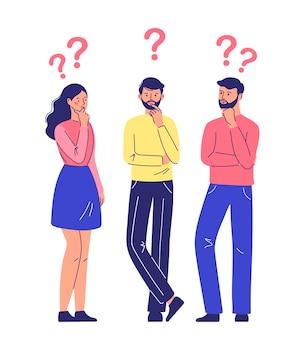 Coppia di uomo e donna che hanno una domanda personaggi maschili e femminili in piedi in una posa meditabonda