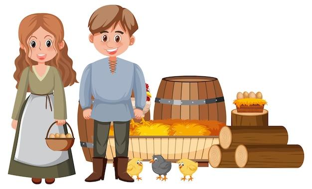 Coppia di contadini medievali con oggetti della fattoria