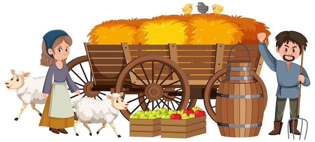 Coppia di contadini medievali con pagliaio in un carro