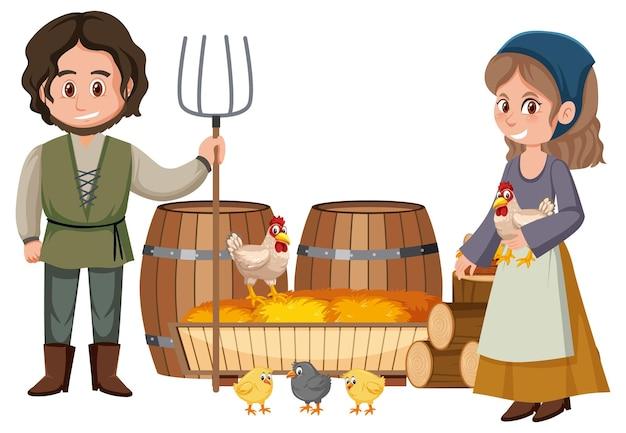 Coppia di contadini medievali con pagliaio
