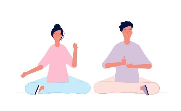 Meditazione di coppia. personaggi maschili e femminili classe di yoga in camera seduta famiglia relazione concetto di vettore. concentrazione di equilibrio di posizione, illustrazione di asana di esercizio di fitness
