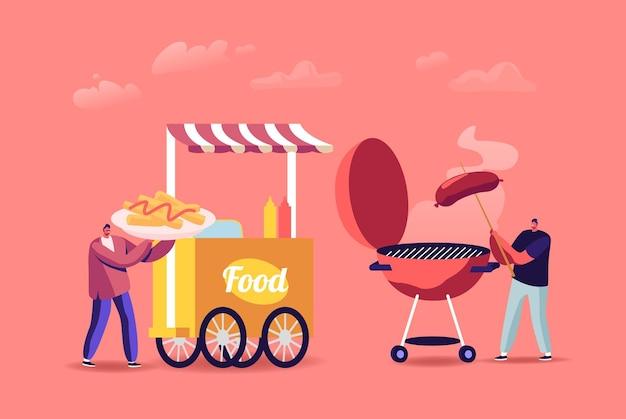 Coppia di uomini, amici o colleghi, personaggi che mangiano cibo di strada in stand estivo all'aperto con barbecue