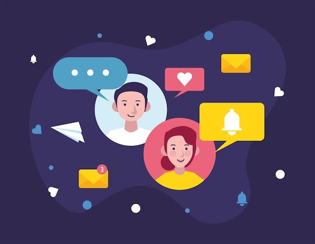 Icone di comunicazione di coppia e messaggistica