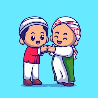 Uomo musulmano delle coppie che stringe la mano dell'icona di vettore del fumetto. concetto dell'icona di religione della gente isolato vettore premium. stile cartone animato piatto