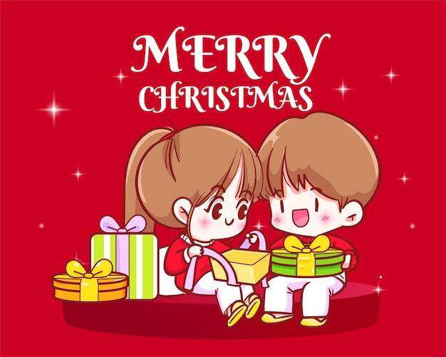 Illustrazione disegnata a mano di arte del fumetto di celebrazione di festa di natale delle coppie che aprono i regali di natale