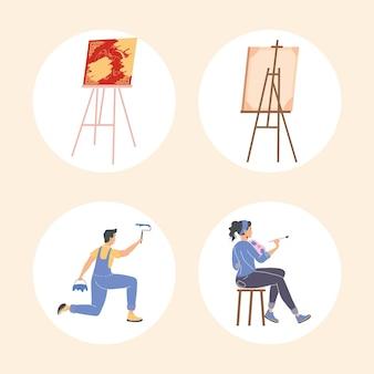 Coppia che dipinge personaggi e tele