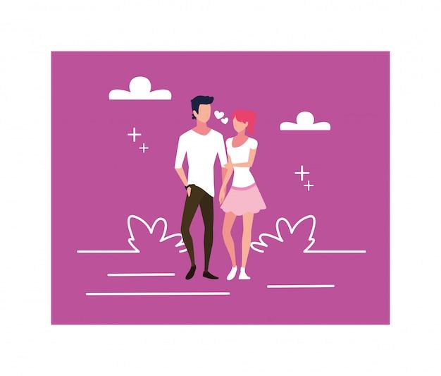 Coppia di innamorati, uomo e donna che si abbracciano affettuosamente