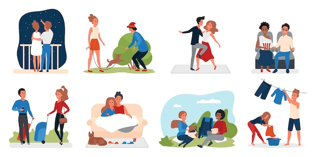 Coppia persone amorevole attività illustrazione set.