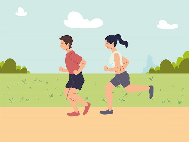 Coppia di persone che corrono o fanno jogging, attività all'aperto