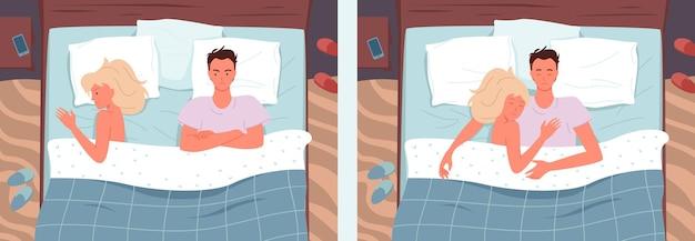 Coppia persone che dormono pose a letto illustrazione vettoriale set moglie arrabbiata e marito litigano, problema