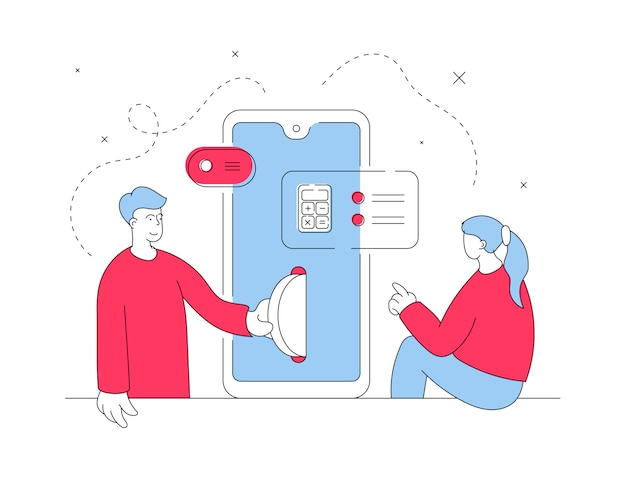 Coppia eseguendo operazioni finanziarie su smartphone. illustrazione al tratto