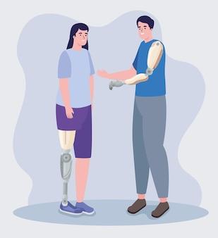 Coppia di persone che usano protesi