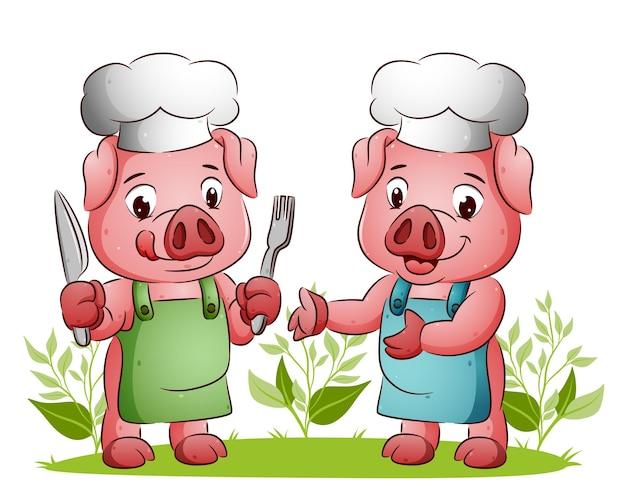 La coppia di maiali è pronta per mangiare tenendo il cucchiaio e la forchetta dell'illustrazione