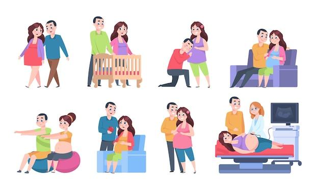 Illustrazione di caratteri di gravidanza di coppia