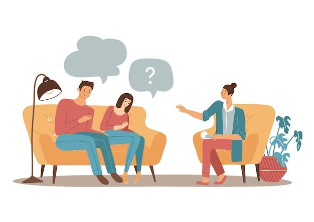 Concetto di psicoterapia di coppia psicologo familiare femminile che parla con un uomo e una donna sposati piatto vec...