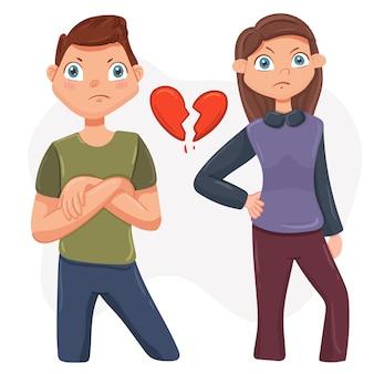 Litigio di coppia. conflitto familiare tra marito e moglie. illustrazione in stile piatto