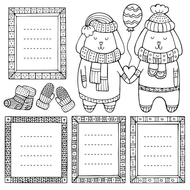 Una coppia di conigli innamorati del cuore e del palloncino tra le zampe e una serie di cornici disegnate a mano
