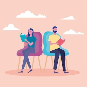 Lettori di coppia che leggono libri seduti nel disegno dell'illustrazione dei caratteri della sedia