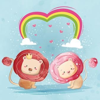 Leone dai capelli rosa delle coppie
