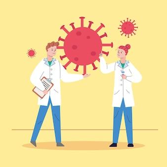 Accoppia i ricercatori con il vaccino per la ricerca sulle particelle covid19