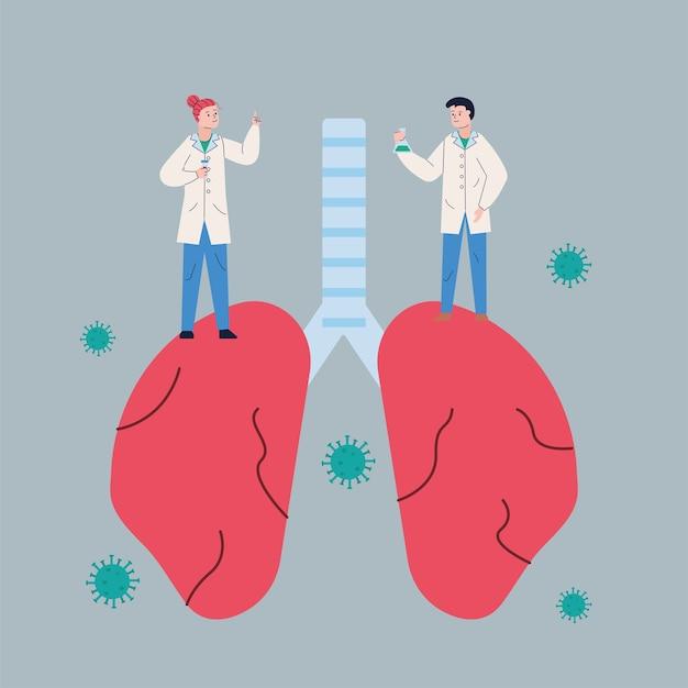Coppia scientifica con polmoni e vaccino per la ricerca sulle particelle covid19
