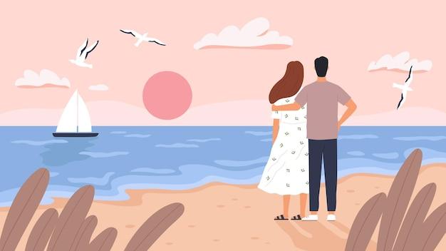 Coppia al tramonto sul mare. uomo e donna alla data in spiaggia d'estate. seascape con barca, gabbiani e turisti. concetto di vettore di viaggio matrimonio romantico. spiaggia della costa del mare, amore romantico insieme illustrazione