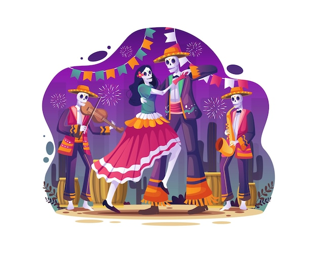 Coppia di teschi che ballano insieme alla musica per celebrare l'illustrazione del dia de los muertos