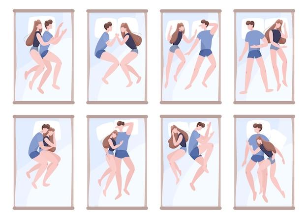 Le coppie dormono insieme in posizione diversa. personaggio femminile e maschile nel letto sul cuscino. riposo in camera da letto. illustrazione