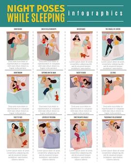 Coppie che dormono pone insieme infographic con simboli di relazione piatto isolato