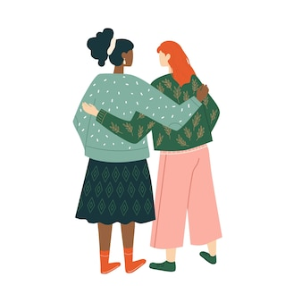 Coppia di donna sorridente concetto di unione di unità di amicizia femminile di femministe o sorellanza