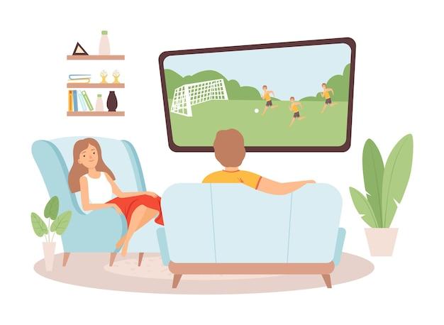 Le coppie trascorrono del tempo insieme. l'uomo della donna guarda la tv, gli appassionati di calcio. famiglia in soggiorno, stare a casa illustrazione vettoriale. l'uomo e la donna guardano comodamente la tv