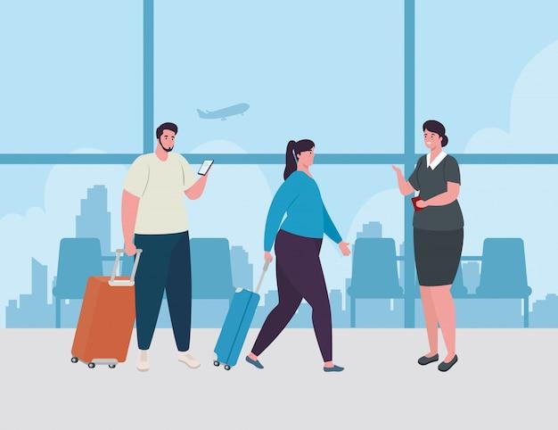 Coppia in piedi per il check-in, al fine di registrarsi per il volo, donna e uomini con i bagagli in attesa della partenza dell'aereo al disegno dell'illustrazione di vettore dell'aeroporto