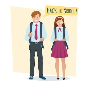Coppia di studenti ragazza e ragazzo