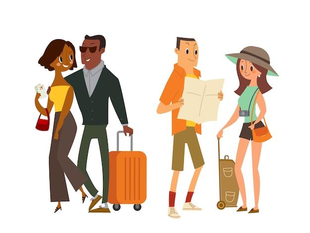 Coppia viaggiatore turistico con mappa e bagagli. illustrazione del fumetto isolato.