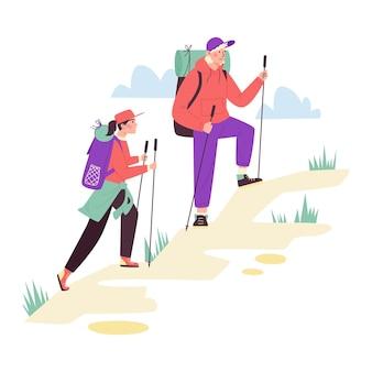 Coppia di turisti che si arrampicano in montagna piatta isolata