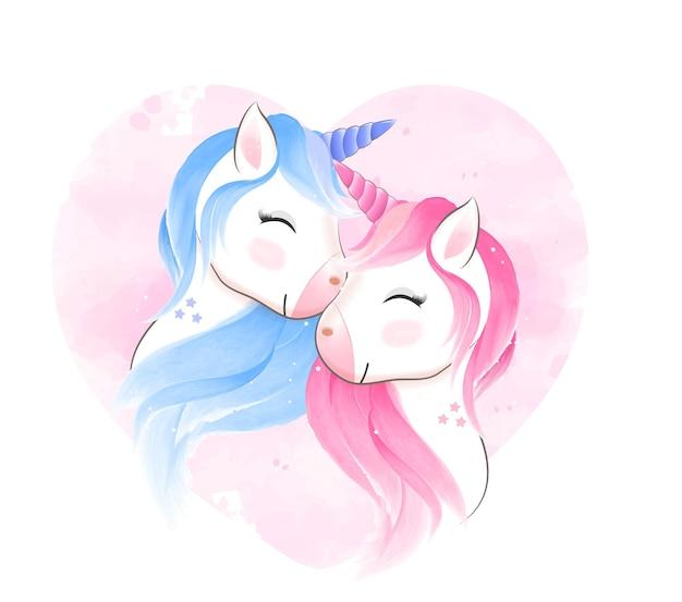 Illustrazione dell'acquerello disegnato a mano di coppia unicorno
