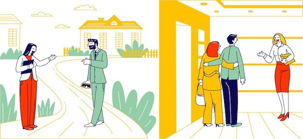 Coppia in visita all'appartamento per la presentazione del tour della casa. i personaggi scelgono la casa per vivere utilizzando il servizio di intermediario immobiliare. agente della donna che mostra all'interno domestico della gente illustrazione vettoriale lineare